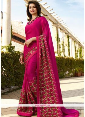 Designer Attractive Dark Pink Printed Saree With Fancy Border