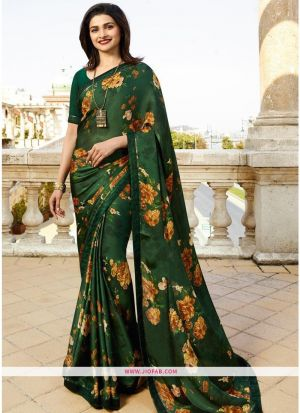 Designer Attractive Printed Nature Green Saree With Border