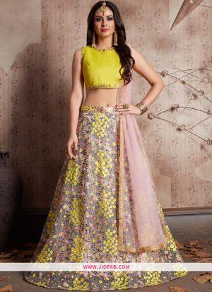 Designer Baby Pink Embroidered Soft Net Wedding Anarkali Lehenga