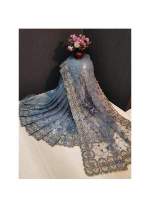Designer Beautiful Grey Heavy Nylon Net Saree