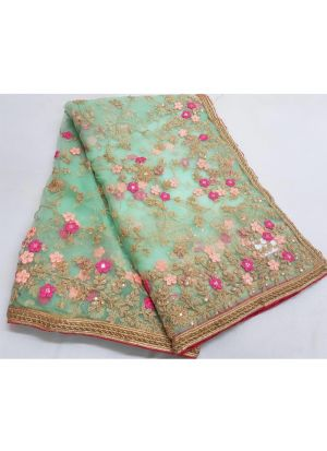 Designer Beautiful Pista Net Saree