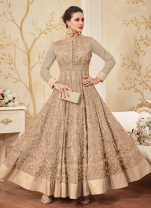 Designer Beige Net Floor Length Anarkali Suit For Wedding