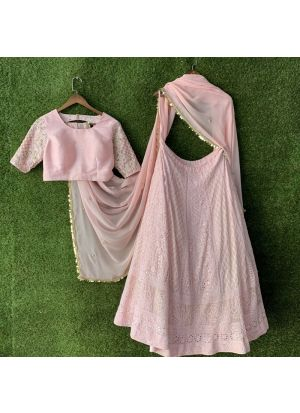 Designer Bemberg Georgette Baby Pink Color Partywear Lehenga Choli