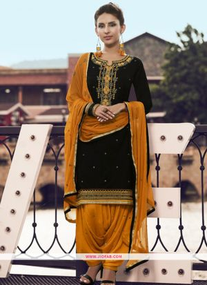 Designer Black Embroidered Glaze Cotton Indian Salwar Suit