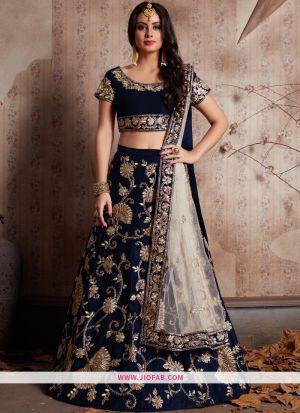 Designer Blue Embroidered Velvet Silk Traditional Lehenga Choli