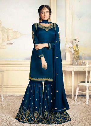 Designer Blue Satin Georgette Salwar Kameez Dresses For Eid