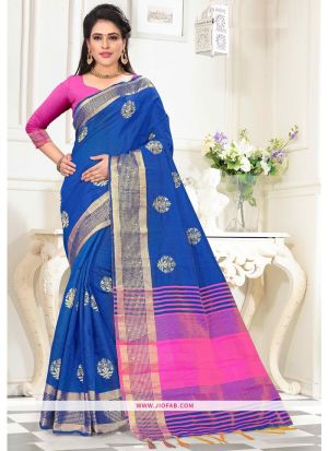 Designer Blue Top Dyed Saree With Weaving Work