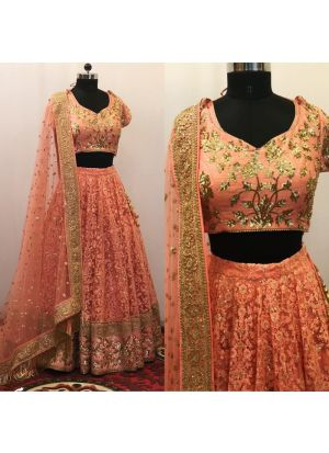 Designer Butterfly Mono Net Orange Color Partywear Lehenga Choli