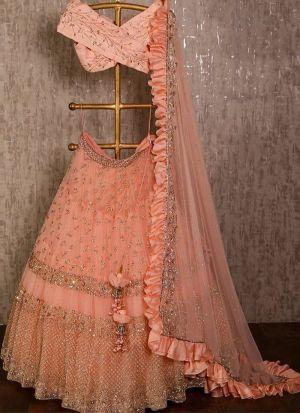 Designer Butterfly Mono Net Peach Color Partywear Lehenga Choli
