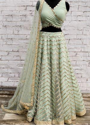 Designer Butterfly Mono Net Pista Color Partywear Lehenga Choli