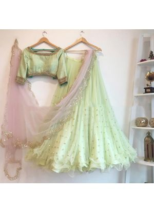 Designer Butterfly Mono Net Pista Colour Partywear Lehenga Choli