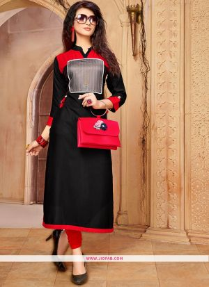 Designer Casual Black 14 Kg Rayon Cotton Straight Kurti