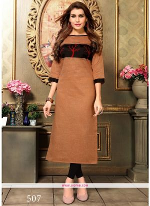 Designer Casual Bronze Khadi Cotton Aplic Work Straight Kurti