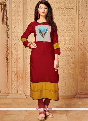 Designer Casual Dark Red 14 Kg Rayon Cotton Straight Kurti