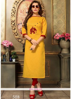 Designer Casual Dark Yellow Khadi Cotton Aplic Work Straight Kurti