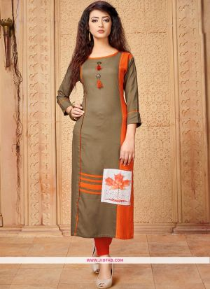 Designer Casual Grey 14 Kg Rayon Cotton Straight Kurti