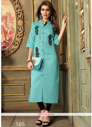Designer Casual Light Cyan Khadi Cotton Aplic Work Straight Kurti