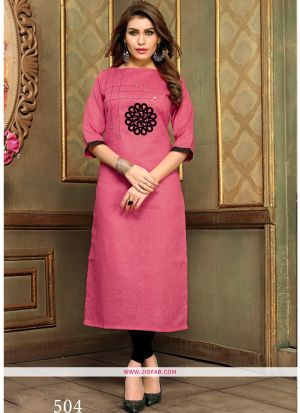 Designer Casual Pink Khadi Cotton Aplic Work Straight Kurti