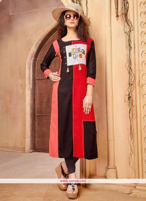 Designer Casual Red And Brown 14 Kg Rayon Cotton Straight Kurti