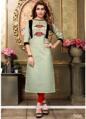 Designer Casual Sage Color Khadi Cotton Aplic Work Straight Kurti