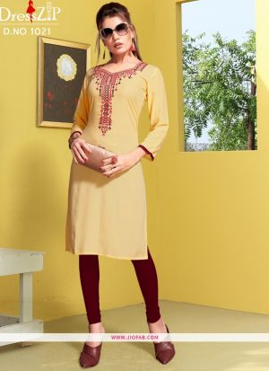Designer Chiku Color Rayon Embroidered Long Kurti