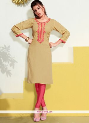 Designer Chiku Rayon Embroidered Long Kurti