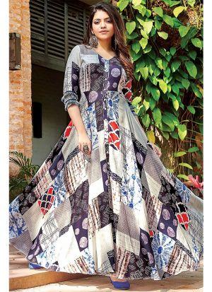 Designer Cotton Blue Kurti For Girl