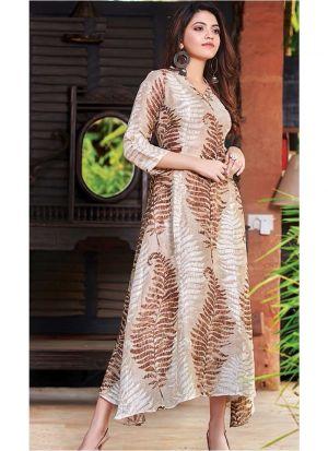 Designer Cotton Oat Colour Kurti For Girl
