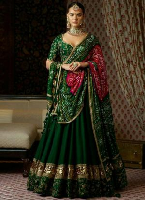 Designer Dark Green Bangalory Embroidered Lehenga Choli With Nazmin Dupatta
