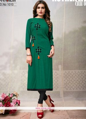 Designer Dark Green Rayon Plain Long Kurti
