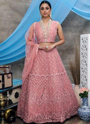 Designer Dusty Pink Net Lehenga Choli For Sangeet