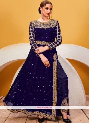 Designer Embroidered Blue Georgette Partywear Suit