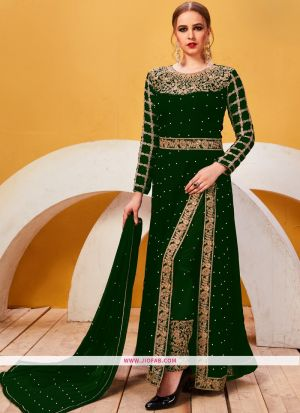Designer Embroidered Green Georgette Partywear Suit