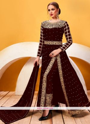 Designer Embroidered Maroon Georgette Partywear Suit