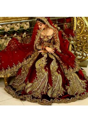 Designer Exclusive Pure Velvet Maroon Color Bridal Lehenga Choli