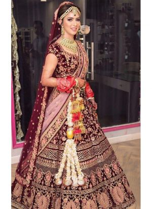 Designer Exclusive Pure Velvet Maroon Colour Bridal Lehenga Choli