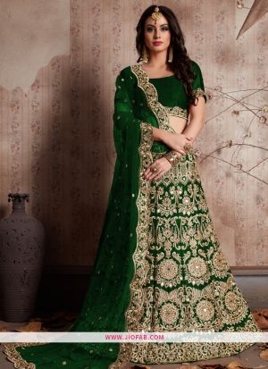 Designer Green Embroidered Velvet Silk Partywear Lehenga Choli