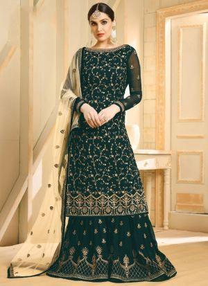 Designer Green Foux Georgette Salwar Kameez Dresses For Eid