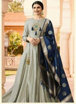 Designer Grey Jenny Silk Salwar Kameez Dresses For Eid