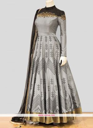 Designer Latest New Arrival Partywear Teal Grey Gown