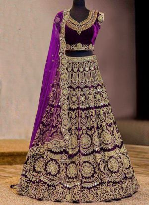 Designer Magenta Pure Velvet Embroidered Wedding Lehenga Choli With Mono Net Dupatta