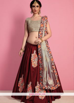 Designer Maroon Embroidered Raw Silk Bridal Anarkali Lehenga