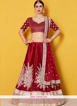 Designer Maroon Embroidered Velvet Silk Ceremony Anarkali Lehenga