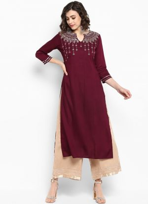 Designer Maroon Viscose Rayon Kurti Collection