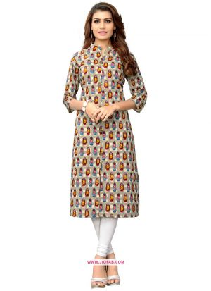 Designer Multi Color Slub Cotton Kurti For Girls And Women