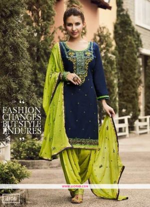 Designer Navy Embroidered Glaze Cotton Indian Salwar Suit