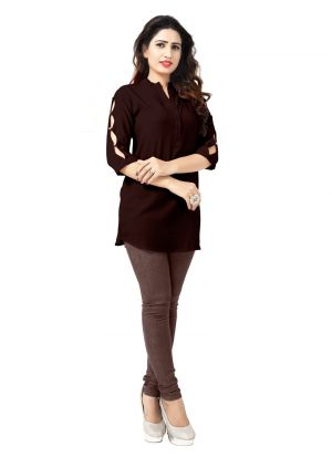 Designer Occasion Wear Brown Rayon Kurti