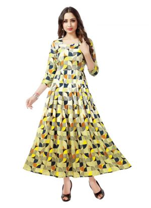 Designer Occasion Wear Yellow Pure Heavy Rayon Kurti