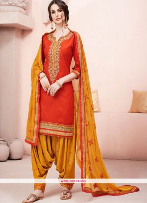 Designer Orange Embroidered Glaze Cotton Indian Salwar Suit