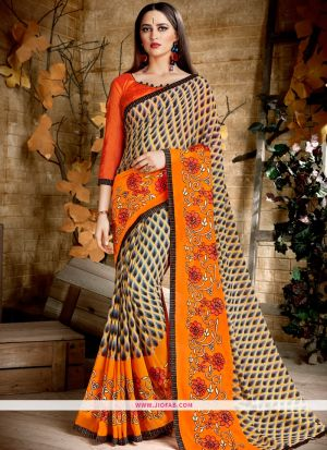 Designer Orange Function Wear Georgette Saree